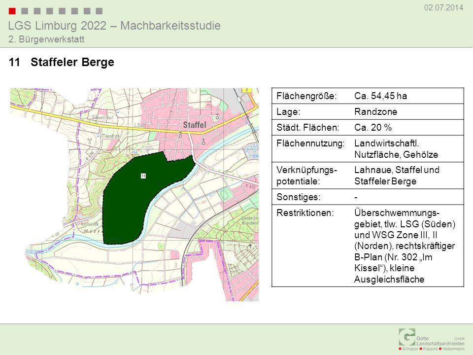 LGS Limburg 2022 – Machbarkeitsstudie 02.07.2014 2. Bürgerwerkstatt 11 Staffeler Berge Flächengröße:Ca. 54,45 ha Lage:Randzone Städt. Flächen:Ca. 20 %