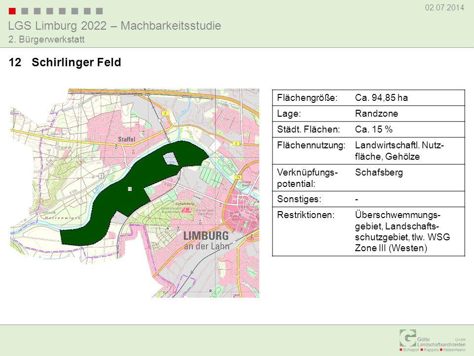 LGS Limburg 2022 – Machbarkeitsstudie 02.07.2014 2. Bürgerwerkstatt 12 Schirlinger Feld Flächengröße:Ca. 94,85 ha Lage:Randzone Städt. Flächen:Ca. 15