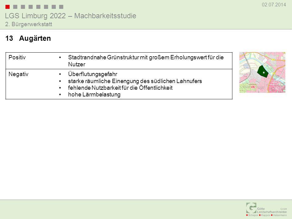 LGS Limburg 2022 – Machbarkeitsstudie 02.07.2014 2. Bürgerwerkstatt PositivStadtrandnahe Grünstruktur mit großem Erholungswert für die Nutzer NegativÜ