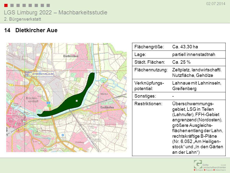 LGS Limburg 2022 – Machbarkeitsstudie 02.07.2014 2. Bürgerwerkstatt 14 Dietkircher Aue Flächengröße:Ca. 43,30 ha Lage:partiell innenstadtnah Städt. Fl