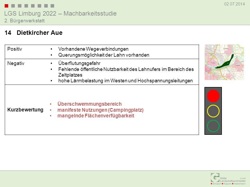 LGS Limburg 2022 – Machbarkeitsstudie 02.07.2014 2. Bürgerwerkstatt PositivVorhandene Wegeverbindungen Querungsmöglichkeit der Lahn vorhanden NegativÜ