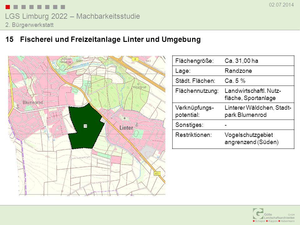 LGS Limburg 2022 – Machbarkeitsstudie 02.07.2014 2. Bürgerwerkstatt 15 Fischerei und Freizeitanlage Linter und Umgebung Flächengröße:Ca. 31,00 ha Lage