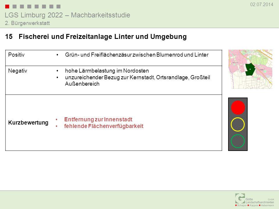 LGS Limburg 2022 – Machbarkeitsstudie 02.07.2014 2. Bürgerwerkstatt PositivGrün- und Freiflächenzäsur zwischen Blumenrod und Linter Negativhohe Lärmbe