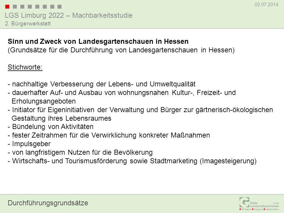 LGS Limburg 2022 – Machbarkeitsstudie 02.07.2014 2. Bürgerwerkstatt Zur Vorgehensweise
