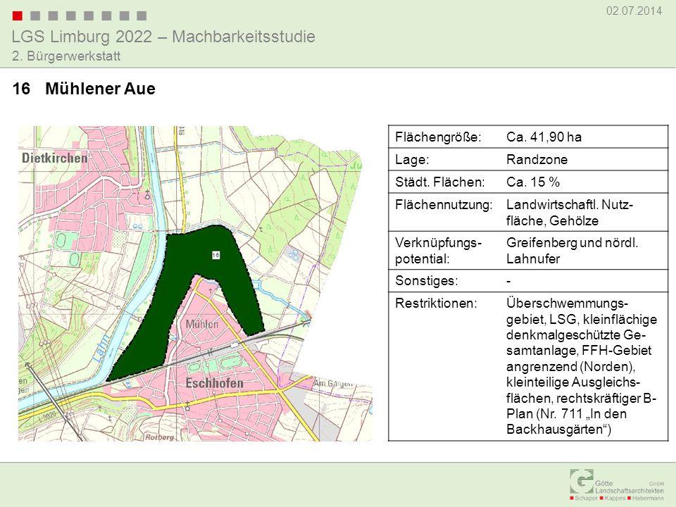 LGS Limburg 2022 – Machbarkeitsstudie 02.07.2014 2. Bürgerwerkstatt 16 Mühlener Aue Flächengröße:Ca. 41,90 ha Lage:Randzone Städt. Flächen:Ca. 15 % Fl