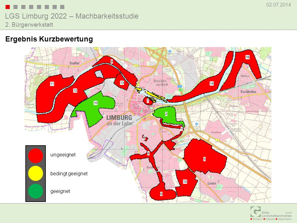 LGS Limburg 2022 – Machbarkeitsstudie 02.07.2014 2. Bürgerwerkstatt Ergebnis Kurzbewertung ungeeignet bedingt geeignet geeignet