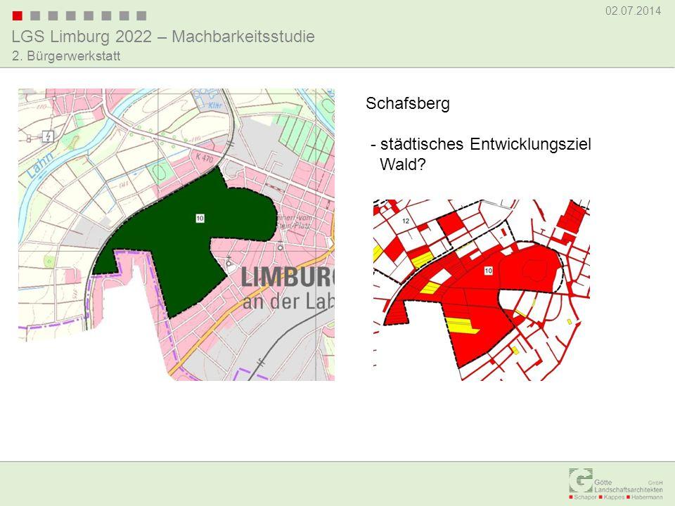 LGS Limburg 2022 – Machbarkeitsstudie 02.07.2014 2. Bürgerwerkstatt Schafsberg - städtisches Entwicklungsziel Wald?
