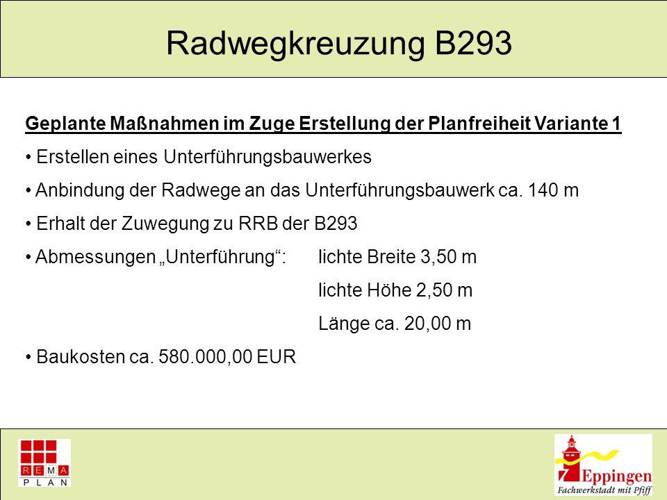 Radwegkreuzung B293 Ergebnisse Baugrunduntersuchung vorhandener Grundwasserstand ca.