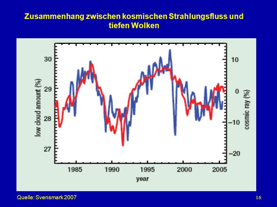 16 Zusammenhang zwischen kosmischen Strahlungsfluss und tiefen Wolken Quelle: Svensmark 2007