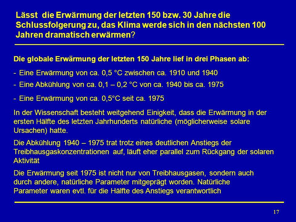 17 Die globale Erwärmung der letzten 150 Jahre lief in drei Phasen ab: Die Erwärmung seit 1975 ist nicht nur von Treibhausgasen, sondern auch durch an