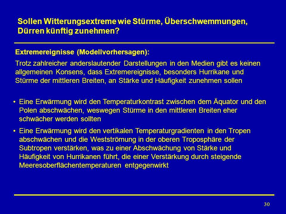 30 Extremereignisse (Modellvorhersagen): Eine Erwärmung wird den Temperaturkontrast zwischen dem Äquator und den Polen abschwächen, weswegen Stürme in