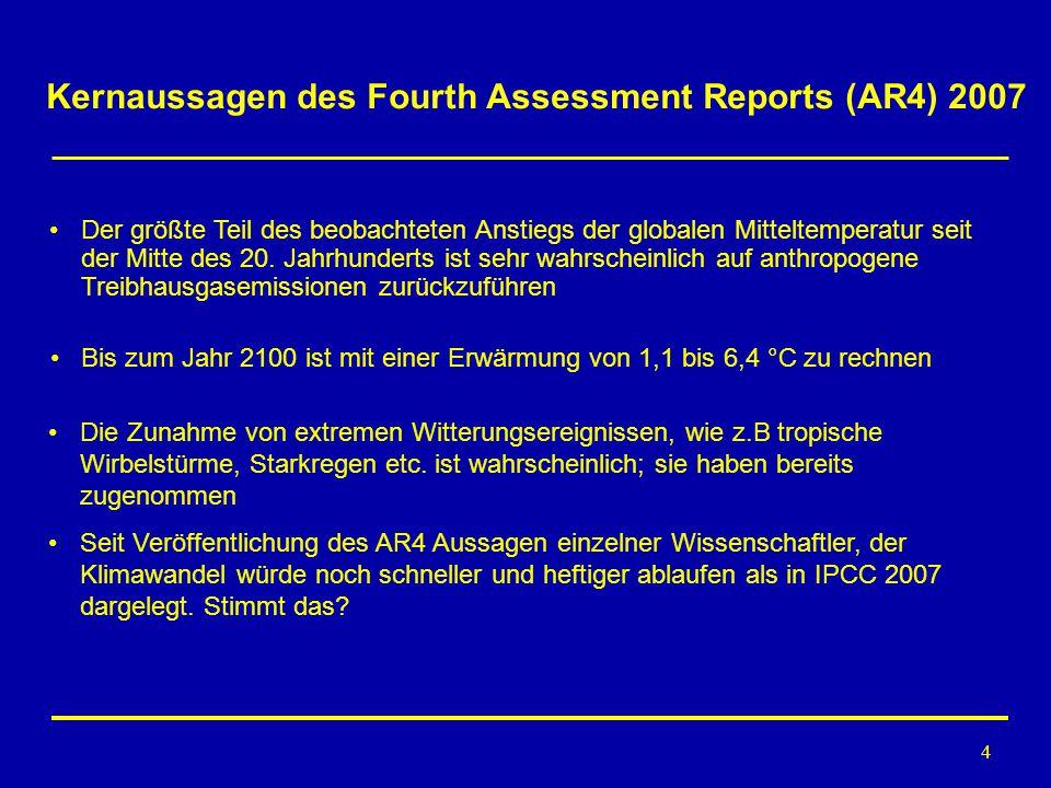 4 Kernaussagen des Fourth Assessment Reports (AR4) 2007 Der größte Teil des beobachteten Anstiegs der globalen Mitteltemperatur seit der Mitte des 20.