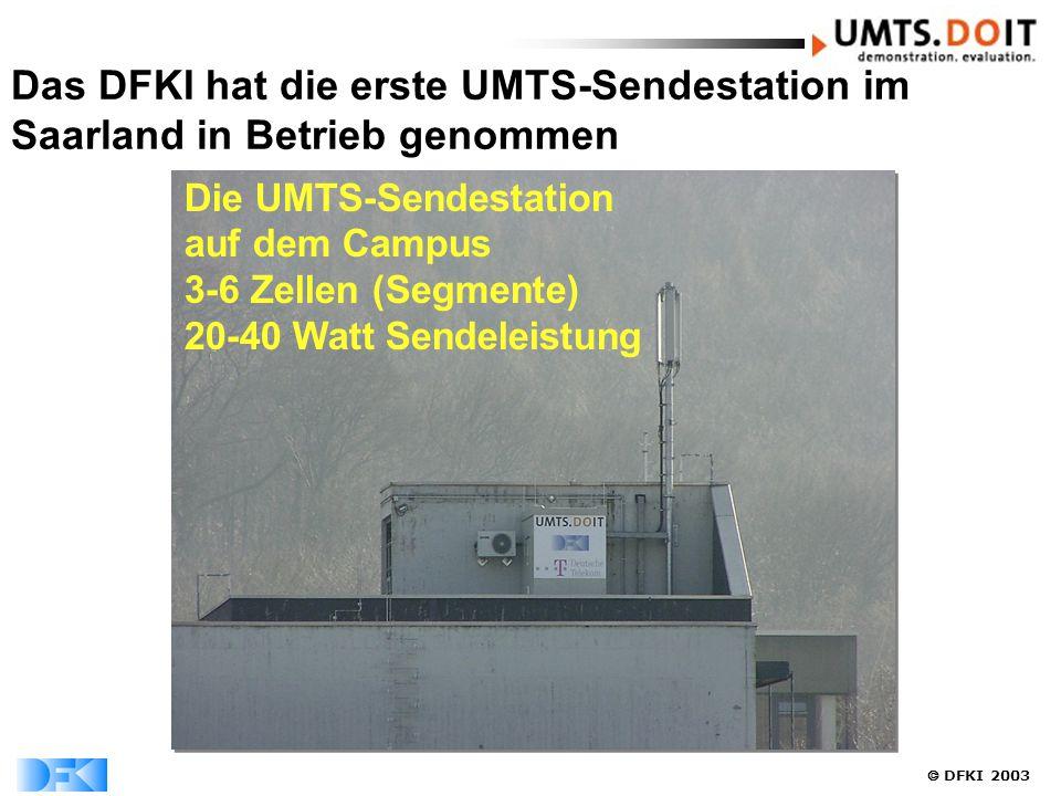  DFKI 2003 Das DFKI hat die erste UMTS-Sendestation im Saarland in Betrieb genommen Die UMTS-Sendestation auf dem Campus 3-6 Zellen (Segmente) 20-40