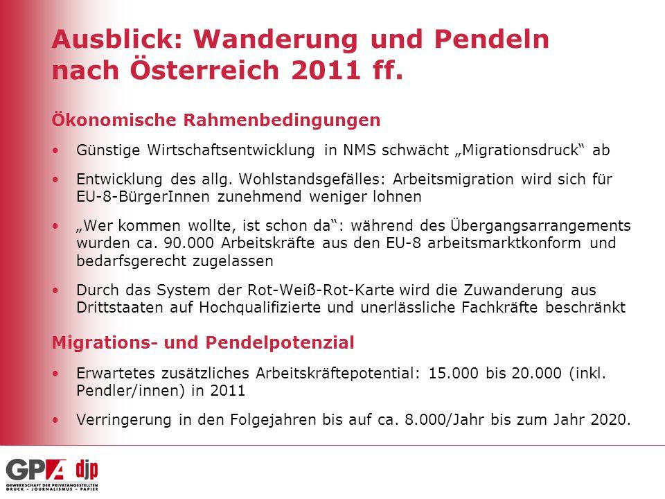 """Ausblick: Wanderung und Pendeln nach Österreich 2011 ff. Ökonomische Rahmenbedingungen Günstige Wirtschaftsentwicklung in NMS schwächt """"Migrationsdruc"""