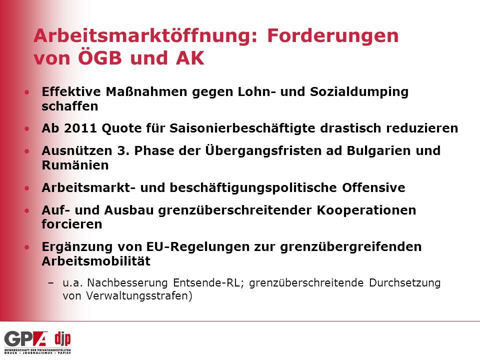 Arbeitsmarktöffnung: Forderungen von ÖGB und AK Effektive Maßnahmen gegen Lohn- und Sozialdumping schaffen Ab 2011 Quote für Saisonierbeschäftigte dra