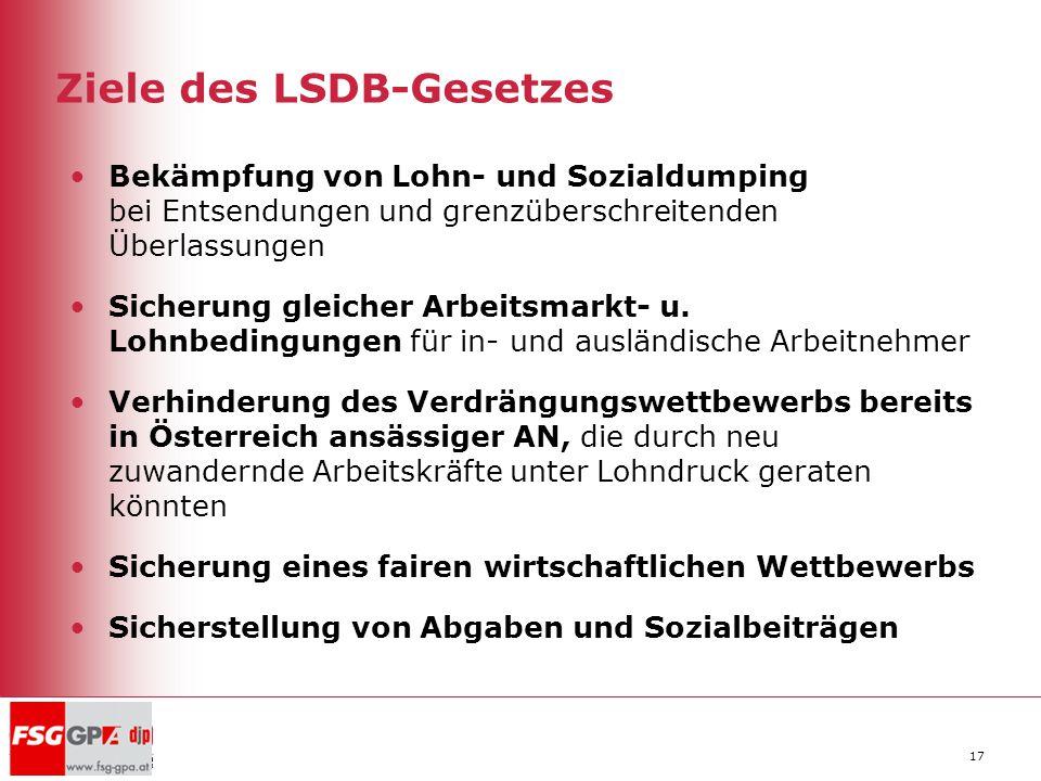 17 Ziele des LSDB-Gesetzes Bekämpfung von Lohn- und Sozialdumping bei Entsendungen und grenzüberschreitenden Überlassungen Sicherung gleicher Arbeitsm
