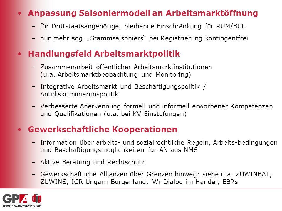 """Anpassung Saisoniermodell an Arbeitsmarktöffnung –für Drittstaatsangehörige, bleibende Einschränkung für RUM/BUL –nur mehr sog. """"Stammsaisoniers"""" bei"""