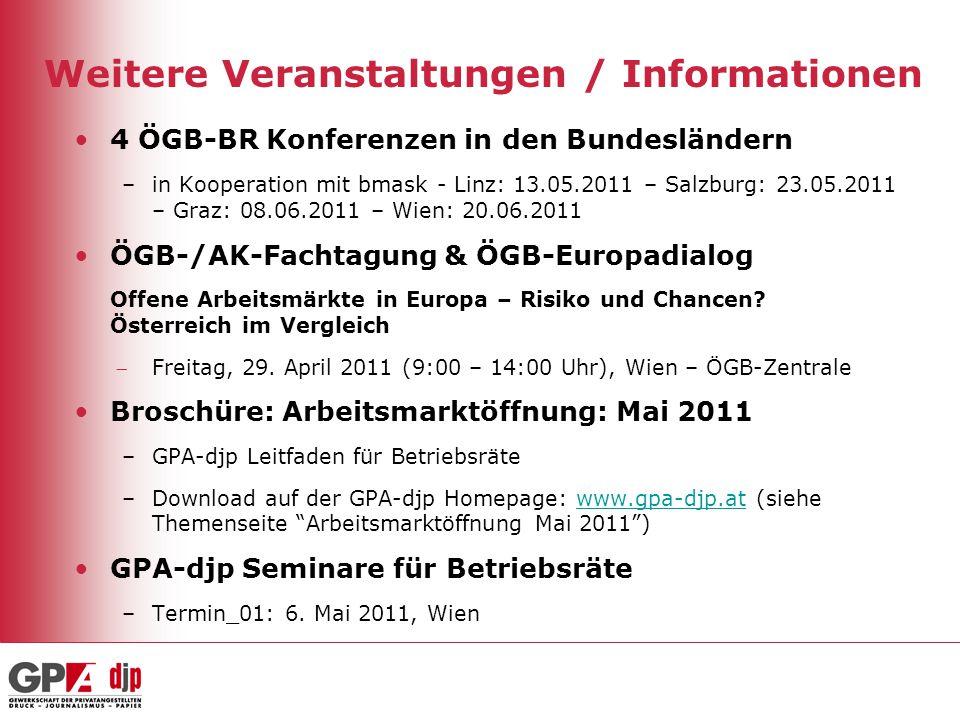 Weitere Veranstaltungen / Informationen 4 ÖGB-BR Konferenzen in den Bundesländern –in Kooperation mit bmask - Linz: 13.05.2011 – Salzburg: 23.05.2011