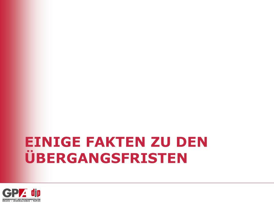 Was bedeutet Arbeitsmarktöffnung Übergangsfristen laufen aus mit 30.4.2011 Keine Möglichkeit der Verlängerung Volle Arbeitnehmerfreizügigkeit Gilt auch für Pendler/innen Arbeitnehmerfreizügigkeit für alle EU-8-Bürger ab 1.