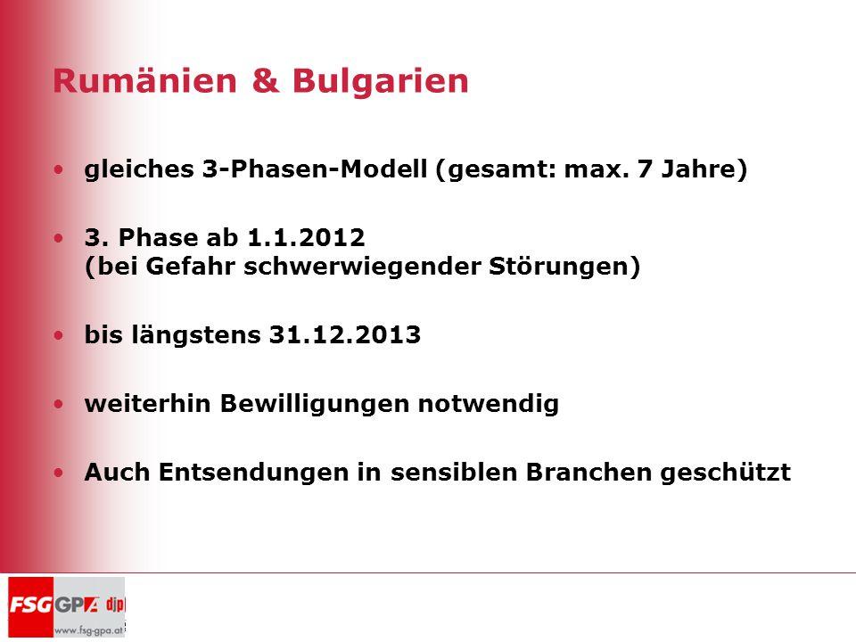 Rumänien & Bulgarien gleiches 3-Phasen-Modell (gesamt: max. 7 Jahre) 3. Phase ab 1.1.2012 (bei Gefahr schwerwiegender Störungen) bis längstens 31.12.2