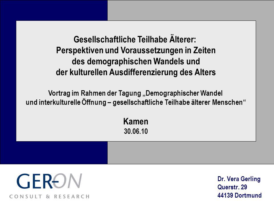 Gesellschaftliche Teilhabe Älterer: Perspektiven und Voraussetzungen in Zeiten des demographischen Wandels und der kulturellen Ausdifferenzierung des