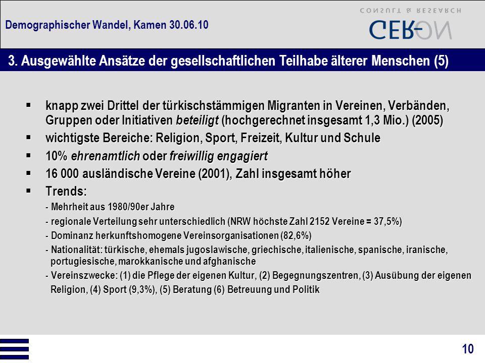 Demographischer Wandel, Kamen 30.06.10  knapp zwei Drittel der türkischstämmigen Migranten in Vereinen, Verbänden, Gruppen oder Initiativen beteiligt
