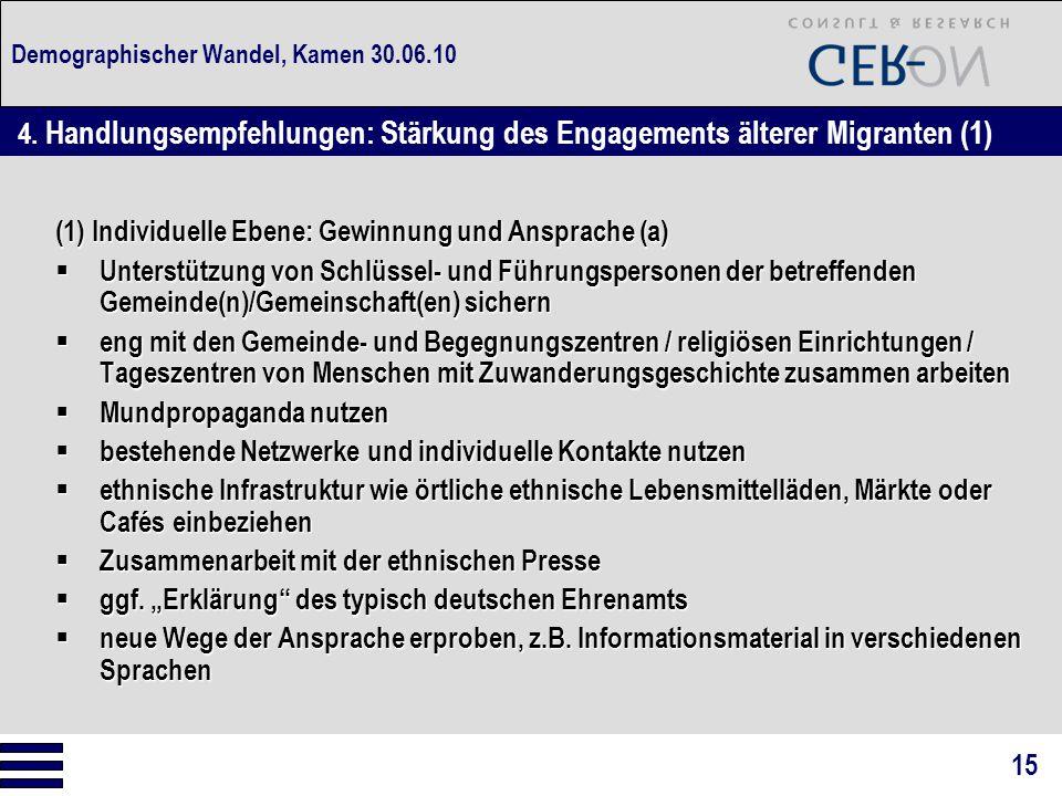 Demographischer Wandel, Kamen 30.06.10 (1) Individuelle Ebene: Gewinnung und Ansprache (a)  Unterstützung von Schlüssel- und Führungspersonen der bet