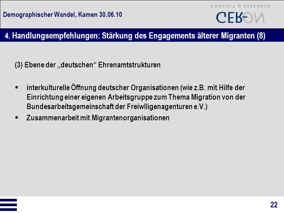"""Demographischer Wandel, Kamen 30.06.10 (3) Ebene der """"deutschen Ehrenamtstrukturen  interkulturelle Öffnung deutscher Organisationen (wie z.B."""