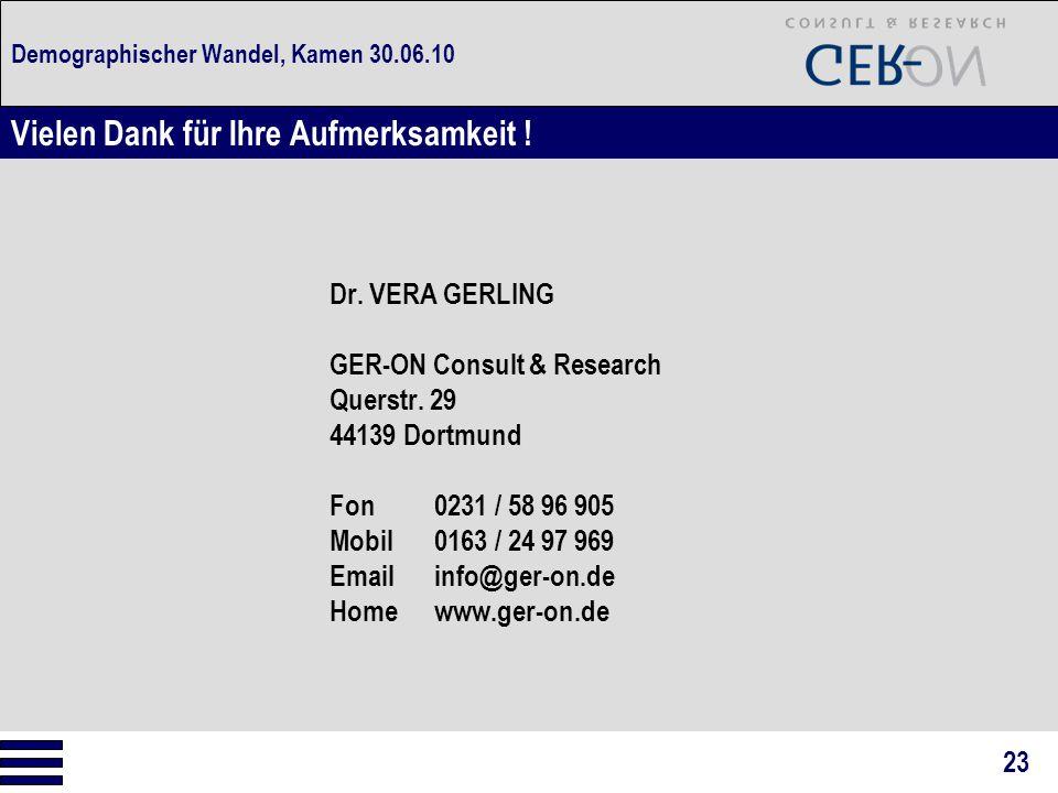 Demographischer Wandel, Kamen 30.06.10 Dr. VERA GERLING GER-ON Consult & Research Querstr. 29 44139 Dortmund Fon0231 / 58 96 905 Mobil0163 / 24 97 969