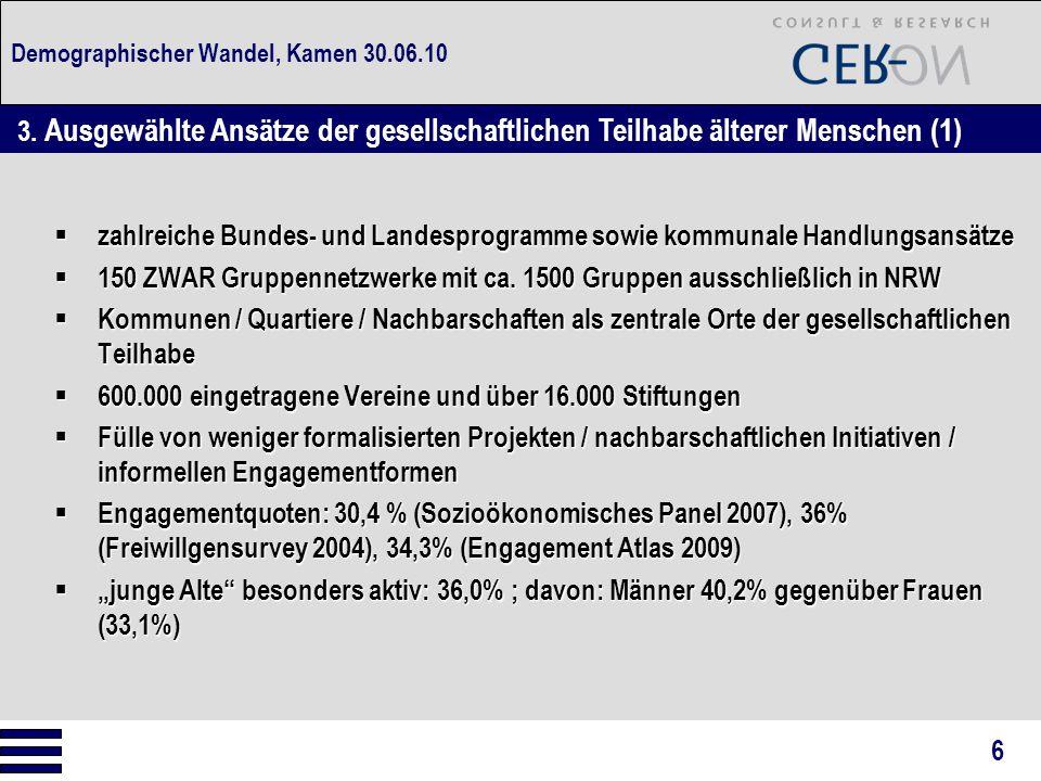 Demographischer Wandel, Kamen 30.06.10  zahlreiche Bundes- und Landesprogramme sowie kommunale Handlungsansätze  150 ZWAR Gruppennetzwerke mit ca.