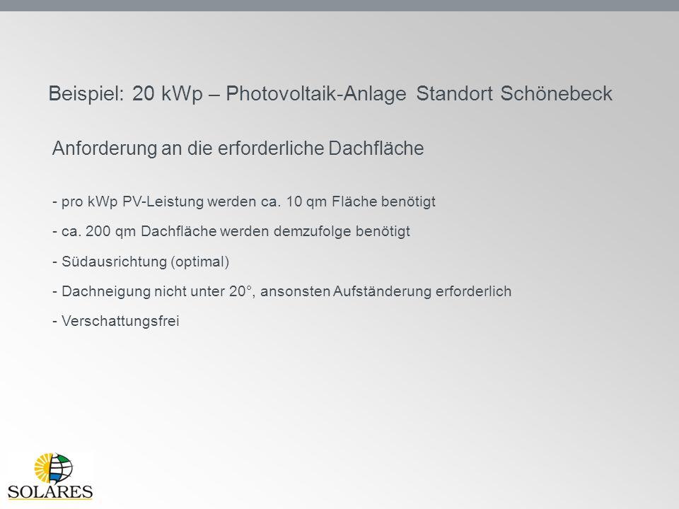 Beispiel: 20 kWp – Photovoltaik-Anlage Standort Schönebeck Anforderung an die erforderliche Dachfläche - pro kWp PV-Leistung werden ca. 10 qm Fläche b
