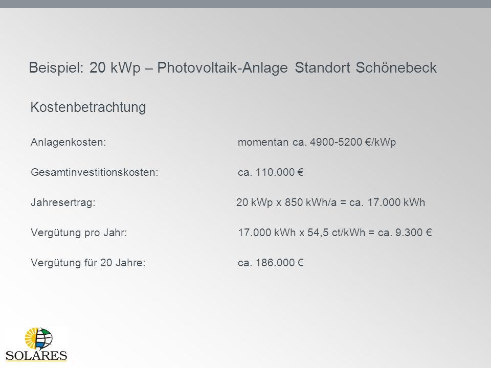 Beispiel: 20 kWp – Photovoltaik-Anlage Standort Schönebeck Anlagenkosten: momentan ca. 4900-5200 €/kWp Gesamtinvestitionskosten:ca. 110.000 € Jahreser