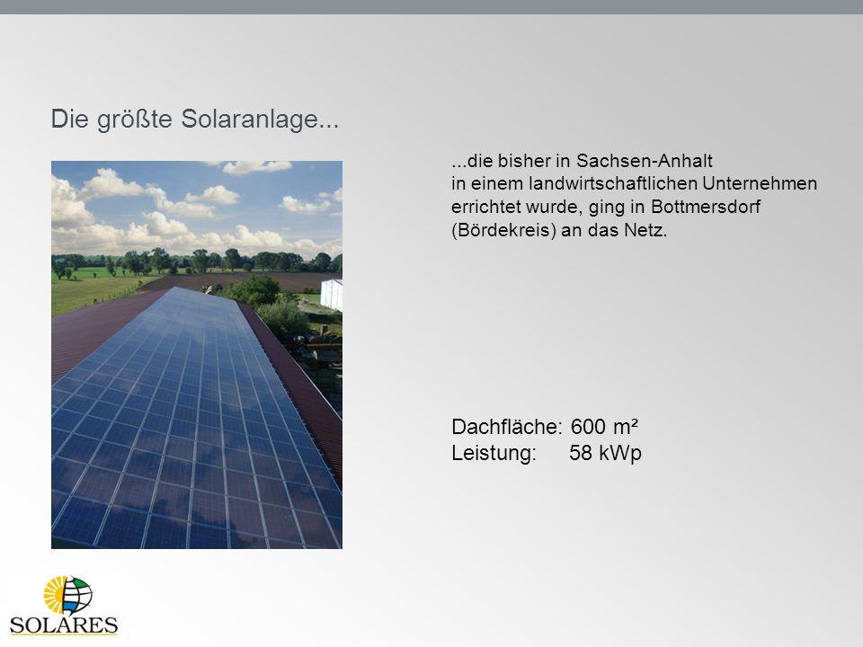 Die größte Solaranlage......die bisher in Sachsen-Anhalt in einem landwirtschaftlichen Unternehmen errichtet wurde, ging in Bottmersdorf (Bördekreis)