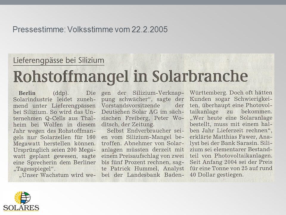 Pressestimme: Volksstimme vom 22.2.2005