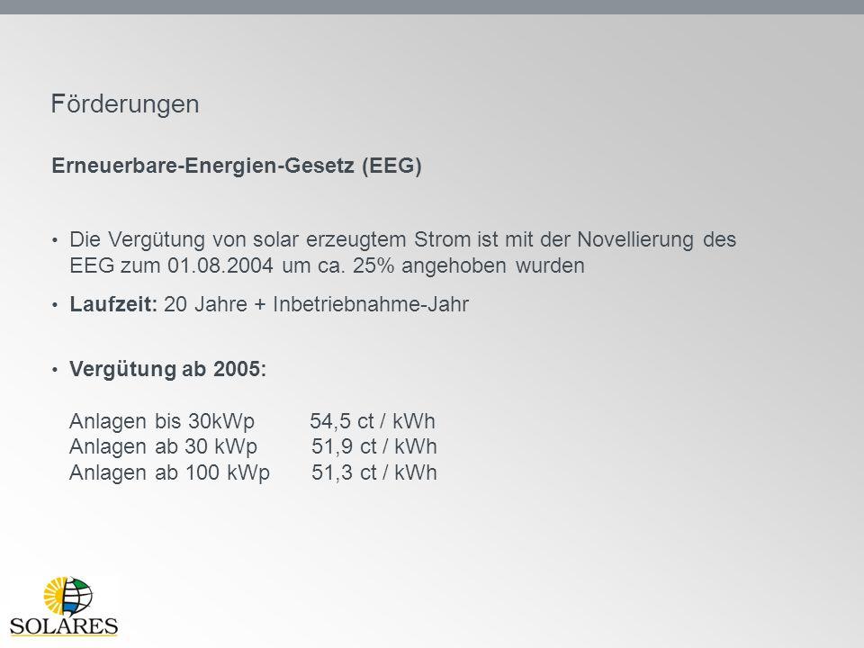 Förderungen Erneuerbare-Energien-Gesetz (EEG) Die Vergütung von solar erzeugtem Strom ist mit der Novellierung des EEG zum 01.08.2004 um ca. 25% angeh