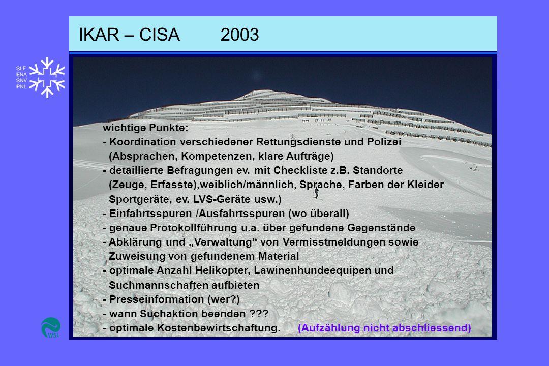 IKAR – CISA2003 wichtige Punkte: - Koordination verschiedener Rettungsdienste und Polizei (Absprachen, Kompetenzen, klare Aufträge) - detaillierte Befragungen ev.