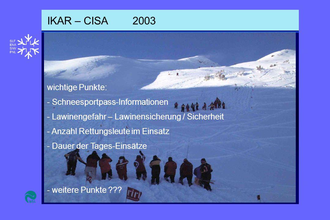 IKAR – CISA2003 wichtige Punkte: - Schneesportpass-Informationen - Lawinengefahr – Lawinensicherung / Sicherheit - Anzahl Rettungsleute im Einsatz - Dauer der Tages-Einsätze - weitere Punkte ???