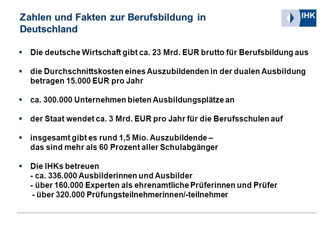 Zahlen und Fakten zur Berufsbildung in Deutschland  Die deutsche Wirtschaft gibt ca. 23 Mrd. EUR brutto für Berufsbildung aus  die Durchschnittskost