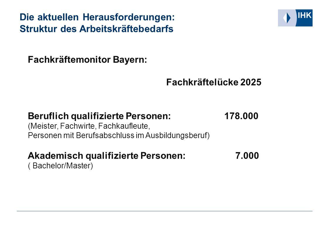 Die aktuellen Herausforderungen: Struktur des Arbeitskräftebedarfs Fachkräftemonitor Bayern: Fachkräftelücke 2025 Beruflich qualifizierte Personen: 17