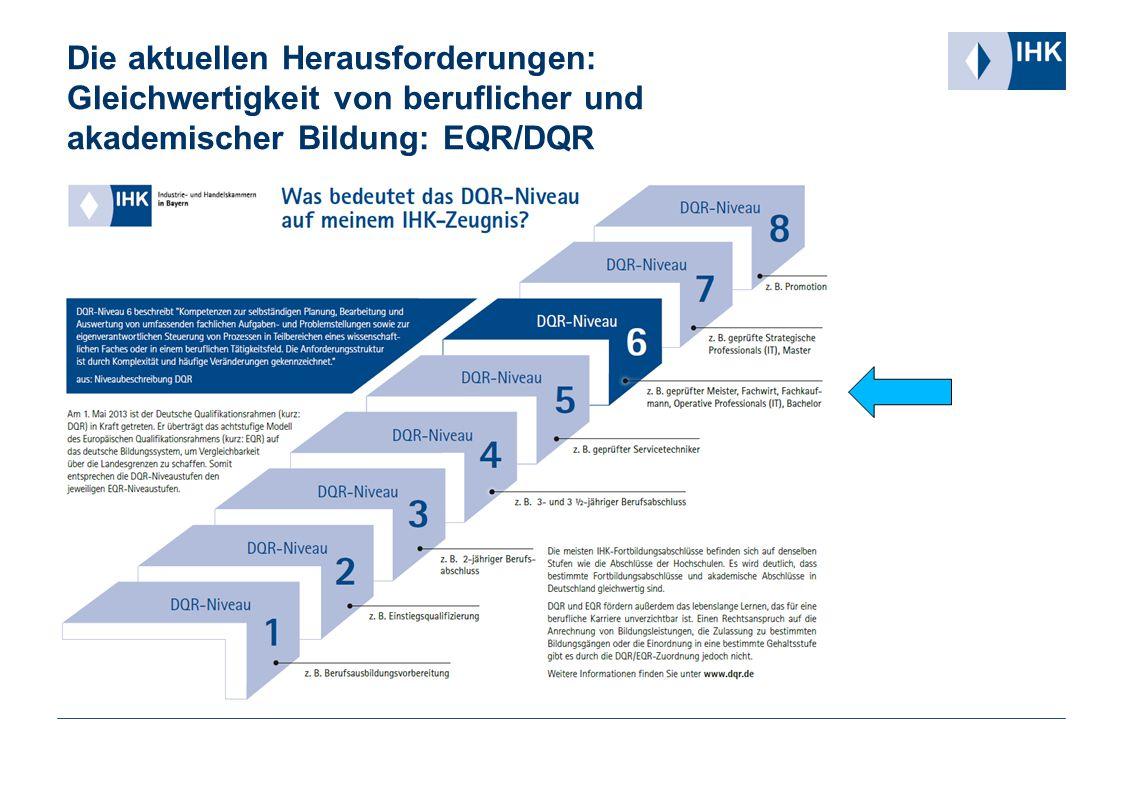 Die aktuellen Herausforderungen: Gleichwertigkeit von beruflicher und akademischer Bildung: EQR/DQR