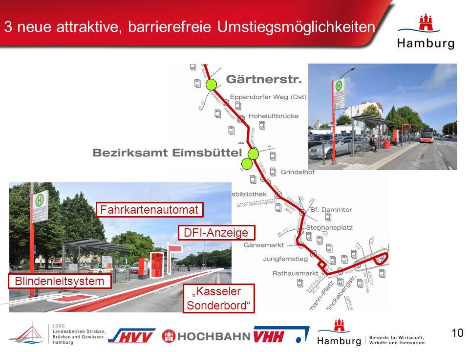 """10 3 neue attraktive, barrierefreie Umstiegsmöglichkeiten DFI-Anzeige Fahrkartenautomat Blindenleitsystem """"Kasseler Sonderbord"""