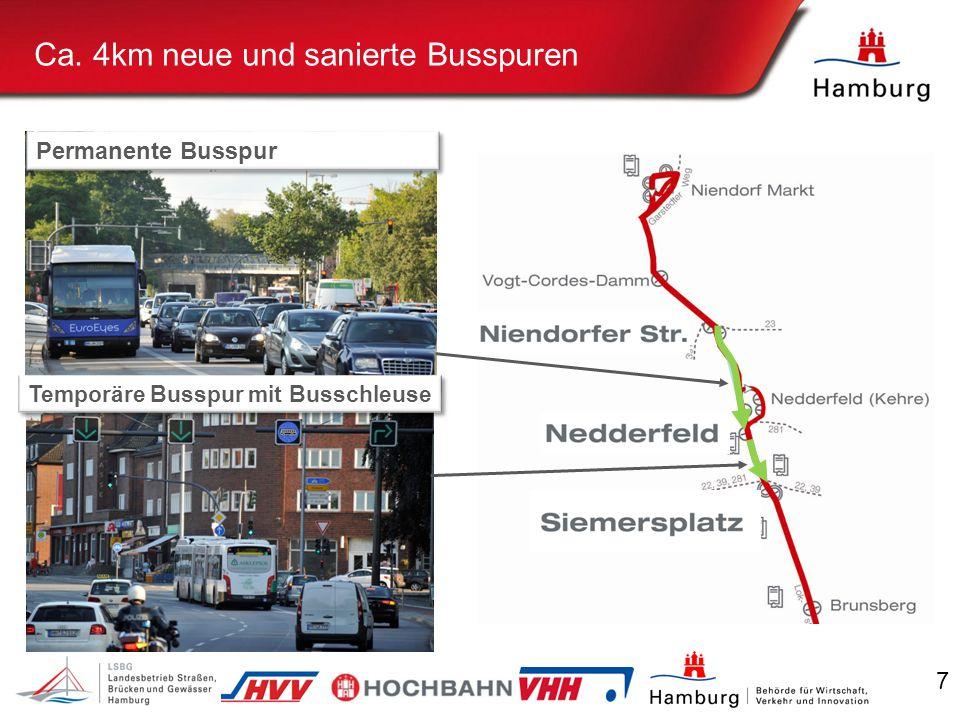 7 Ca. 4km neue und sanierte Busspuren Permanente Busspur Temporäre Busspur mit Busschleuse