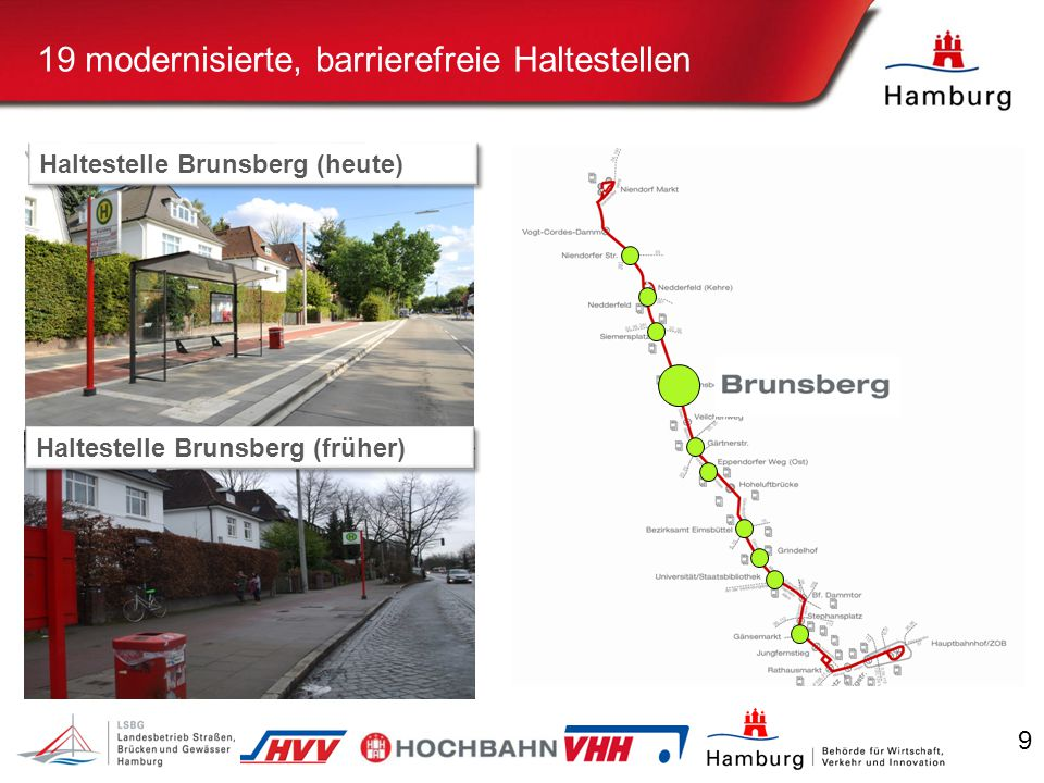 9 Beispiel Haltestelle Brunsberg 19 modernisierte, barrierefreie Haltestellen Haltestelle Brunsberg (heute) Haltestelle Brunsberg (früher)