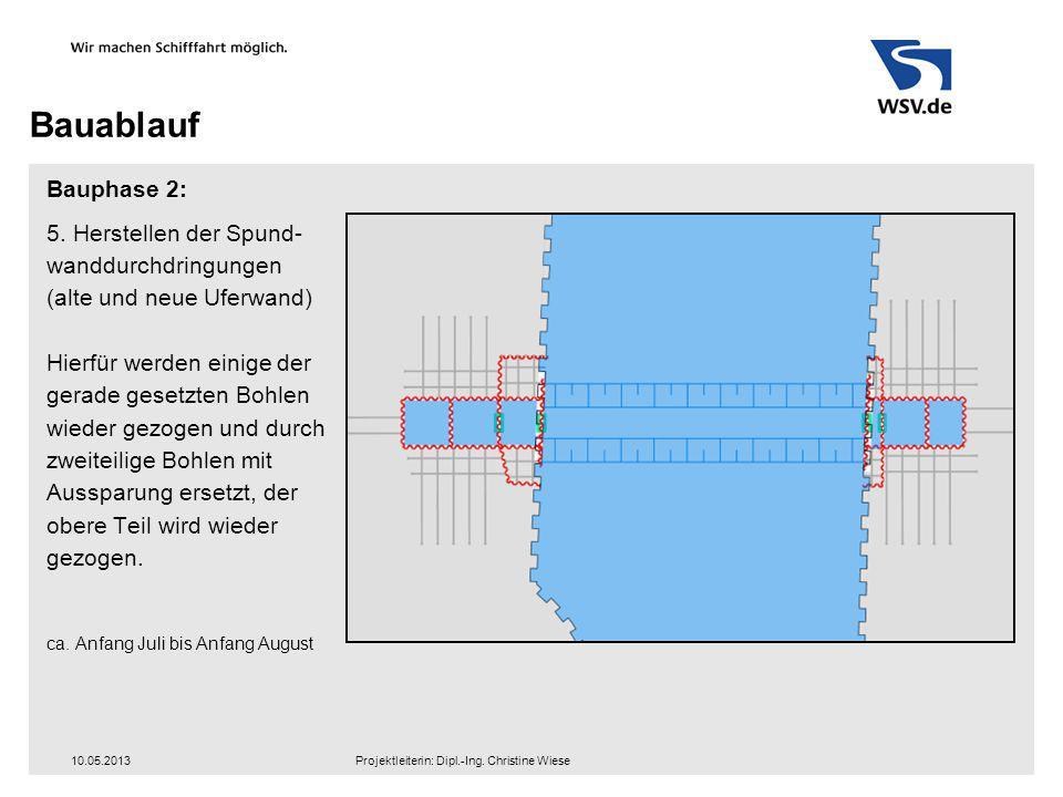 Bauablauf Bauphase 2: 5. Herstellen der Spund- wanddurchdringungen (alte und neue Uferwand) Hierfür werden einige der gerade gesetzten Bohlen wieder g