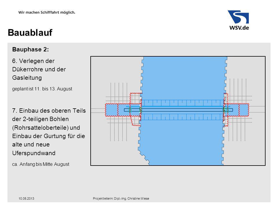 Bauablauf Bauphase 2: 6. Verlegen der Dükerrohre und der Gasleitung geplant ist 11. bis 13. August 7. Einbau des oberen Teils der 2-teiligen Bohlen (R