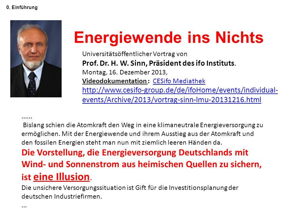 0. Einführung Energiewende ins Nichts Universitätsöffentlicher Vortrag von Prof. Dr. H. W. Sinn, Präsident des ifo Instituts. Montag, 16. Dezember 201