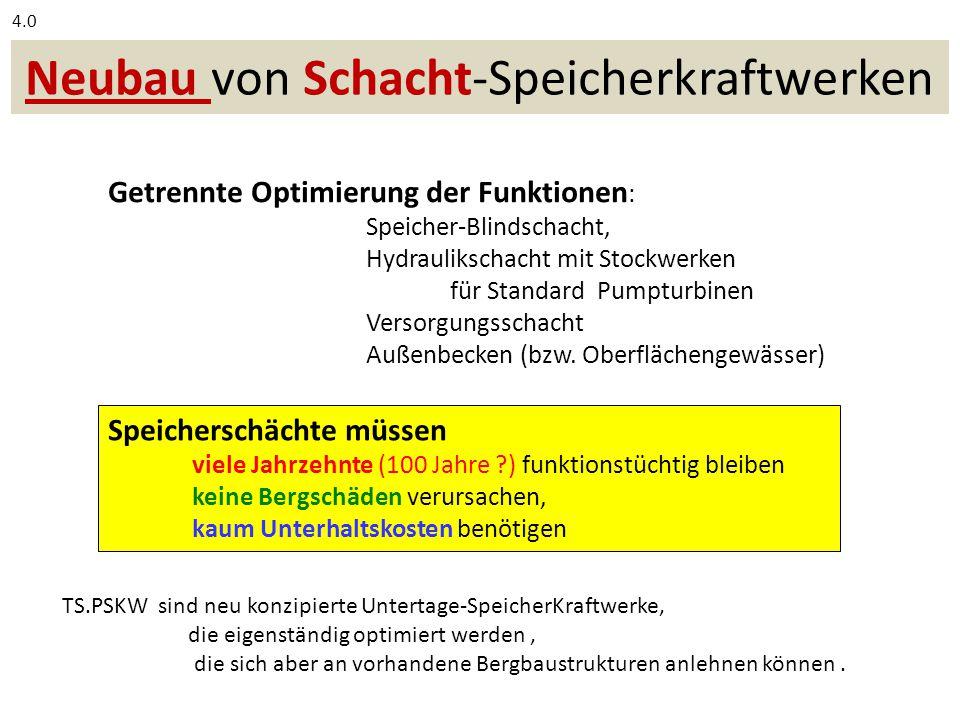 Neubau von Schacht-Speicherkraftwerken Getrennte Optimierung der Funktionen : Speicher-Blindschacht, Hydraulikschacht mit Stockwerken für Standard Pumpturbinen Versorgungsschacht Außenbecken (bzw.