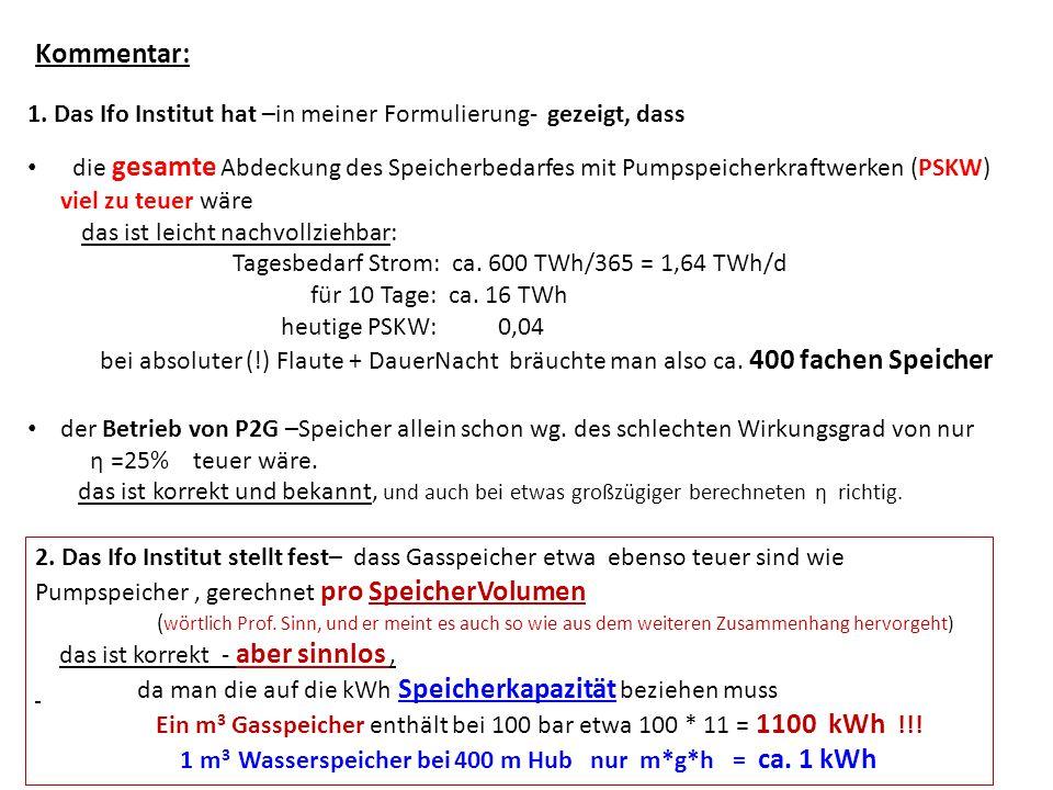 1. Das Ifo Institut hat –in meiner Formulierung- gezeigt, dass die gesamte Abdeckung des Speicherbedarfes mit Pumpspeicherkraftwerken (PSKW) viel zu t