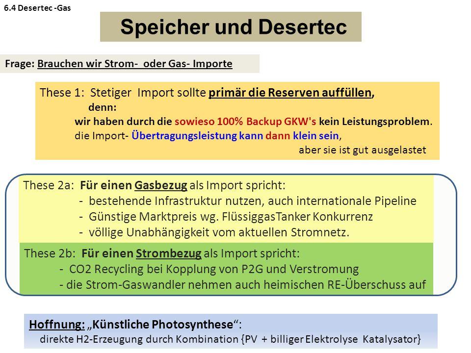 Speicher und Desertec Frage: Brauchen wir Strom- oder Gas- Importe These 1: Stetiger Import sollte primär die Reserven auffüllen, denn: wir haben durch die sowieso 100% Backup GKW s kein Leistungsproblem.