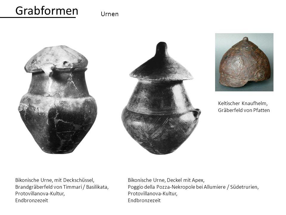 Urnen Bikonische Urne, mit Deckschüssel, Brandgräberfeld von Timmari / Basilikata, Protovillanova-Kultur, Endbronzezeit Bikonische Urne, Deckel mit Ap